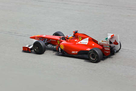 First practice at Formula 1 GP, April 8 2011 in Sepang, Malaysia. Fernando Alonso, team Scuderia Ferrari Marlboro