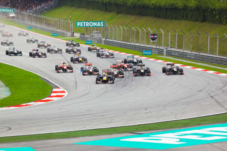 car race track: Formula 1, GP Malaysia, Sepang, April 10 2011. Start of race