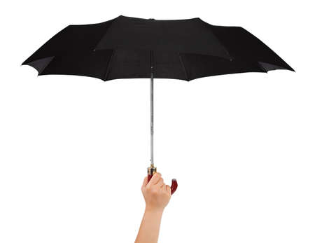 Hand with umbrella isolated on white background photo