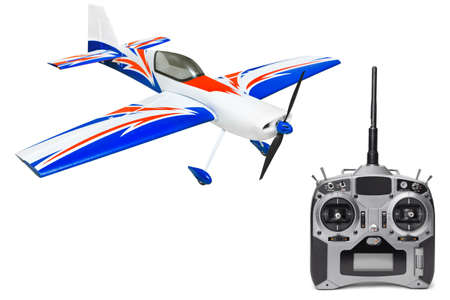 RC plane and radio remote control isolated on white background Stock Photo - 9359743