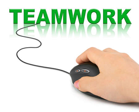Hand with computer mouse and word Teamwork - business concept Stock Photo - 9368931