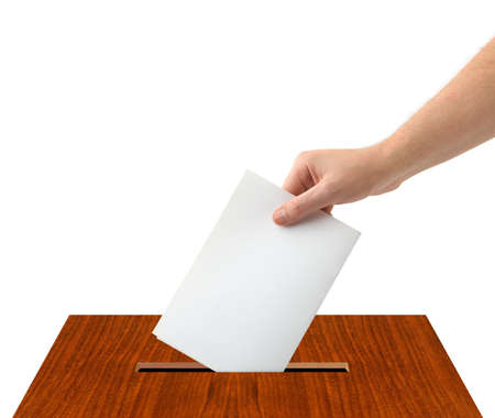 Hand with ballot and box isolated on white background Stock Photo - 9368932