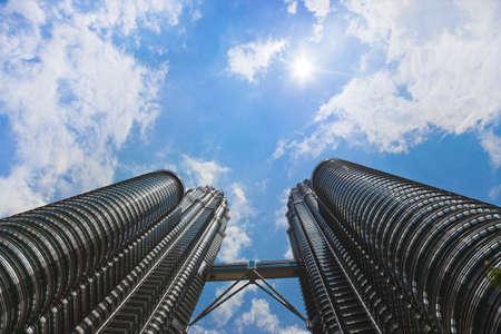 klcc: Twin towers, sky and sun - Kuala Lumpur (Malaysia)