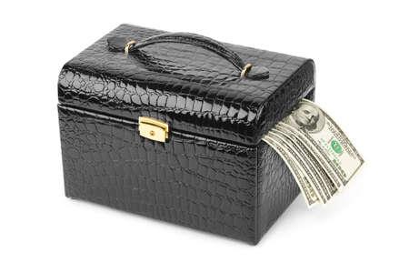 Money in case isolated on white background photo