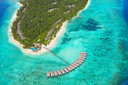Tropical island at Maldives - aerial view photo