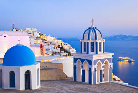 santorini: Santorini sunset (Firostefani) - Greece vacation background Stock Photo