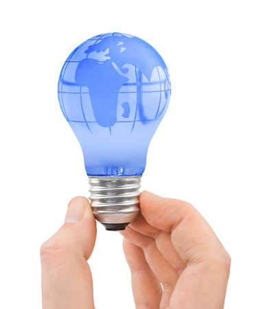 Hand and bulb with globe isolated on white background photo