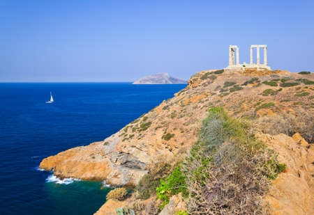 Poseidon Temple at Cape Sounion near Athens, Greece - travel background photo