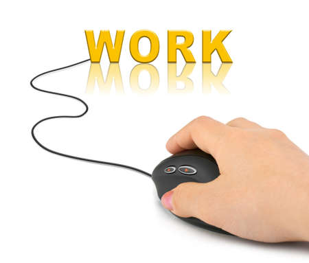 Hand with computer mouse and word Work - technology concept Stock Photo - 9410647