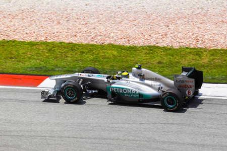 gp: SEPANG, MALAYSIA - APRIL 8: Niko Rosberg (team Mercedes Petronas) at first practice on Formula 1 GP, April 8 2011, Sepang, Malaysia