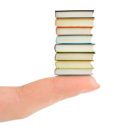 manual: Finger and books isolated on white background Stock Photo