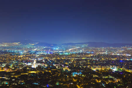 City Athens in Greece at night - travel background photo