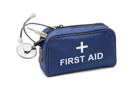 First aid kit isolated on white background photo