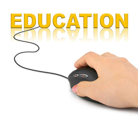 education technology: Hand with computer mouse and word Education - technology concept