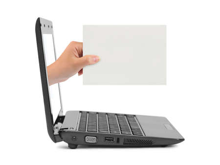 Hand with blank card and notebook isolated on white background photo