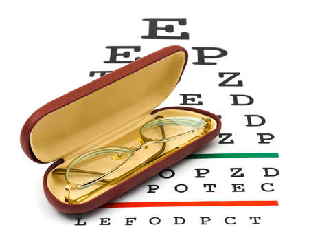diopter: Glasses on eyesight test chart isolated on white background Stock Photo