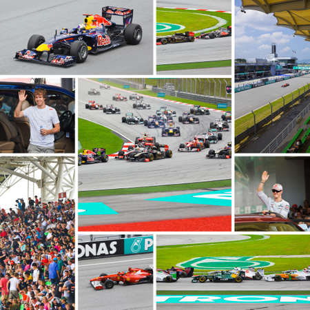 SEPANG, MALAYSIA - APRIL 10: Collage of photos at race of Formula 1 GP, April 10 2011, Sepang, Malaysia