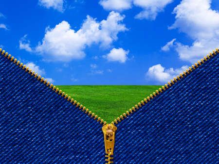 Zipper and summer landscape - nature concept Stock Photo - 9527486