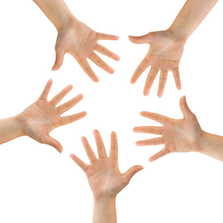 Circle made of hands isolated on white background Stock Photo - 9593863