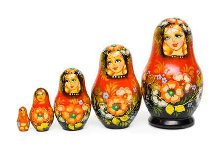 Russian toy matrioska isolated on white background Stock Photo - 9593861