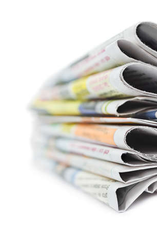 Stack of newspapers isolated on white background Stock Photo - 9593898