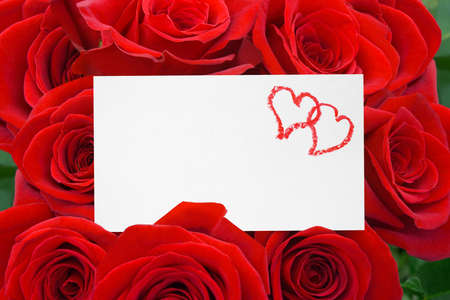 Paper card and roses bouquet - love background Stock Photo - 9594049