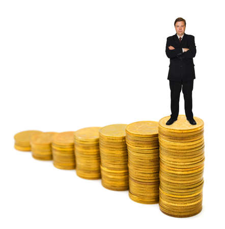 Businessman on money stairs isolated on white background photo