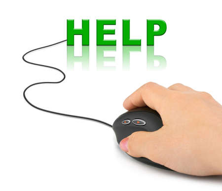 Hand with computer mouse and word Help - internet concept photo