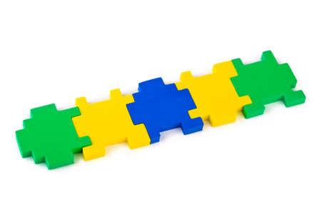 Pieces of puzzle isolated on white background Stock Photo - 9640631