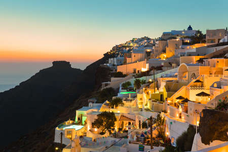 santorini greece: Santorini sunset (Firostefani) - Greece vacation background Stock Photo