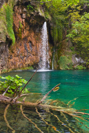 Plitvice lakes in Croatia - nature travel background photo