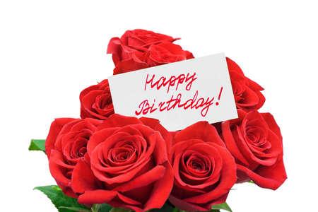 birthday flowers: Rozen en Happy birthday card geïsoleerd op witte achtergrond Stockfoto