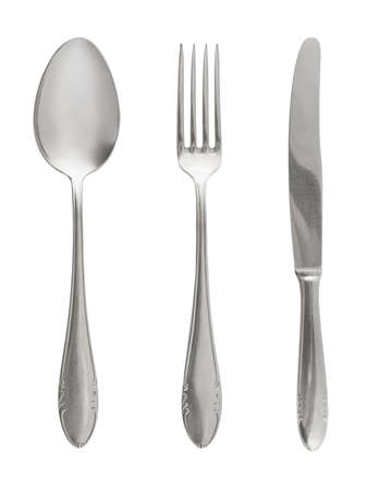 Fork, spoon and knife isolated on white background photo