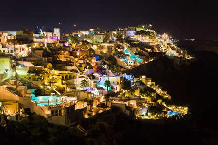 firostefani: Santorini night (Firostefani) - Greece vacation background