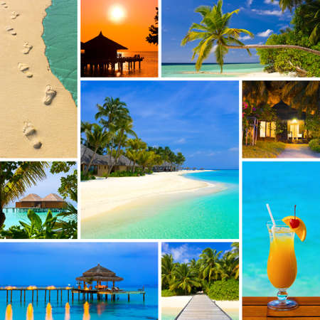 Collage of summer beach maldives images - nature and travel background photo