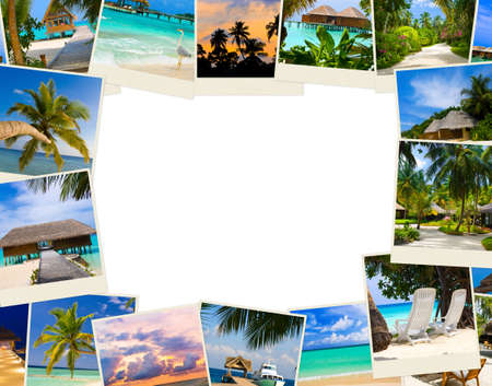 bungalows: Frame made of summer beach maldives images - nature and travel background Stock Photo