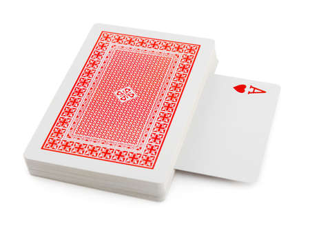 ace hearts: Deck of playing cards isolated on white background