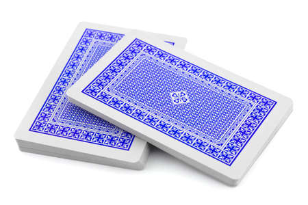stack of business cards: Deck of playing cards isolated on white background