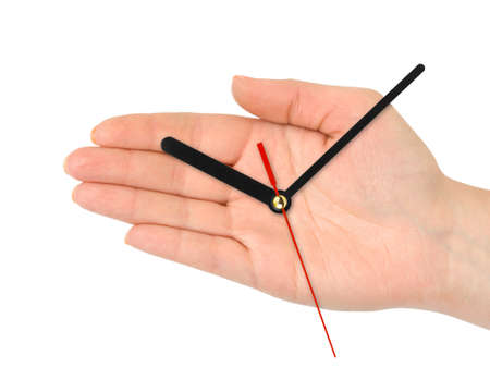 Hand with clock-hands isolated on white background photo