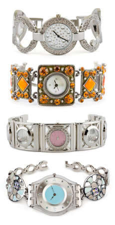 Set of woman watches on white background photo