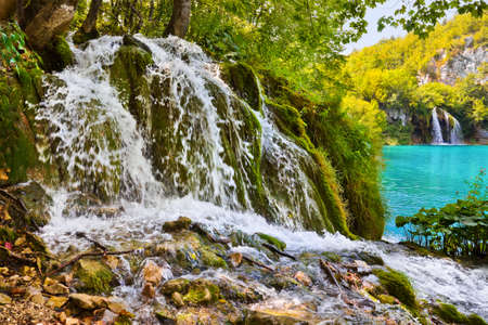 Plitvice lakes in Croatia - nature travel background photo