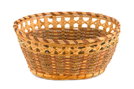 hamper: Empty wood basket isolated on white background Stock Photo