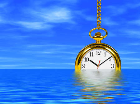 reflection of life: Clock in water - cloudy sky on background Stock Photo