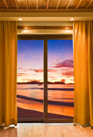 Hotel room and beach landscape - vacation concept background Stock Photo - 9772718