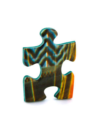 Slice of puzzle isolated on white background photo