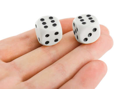 Two dices in hand isolated on white background photo
