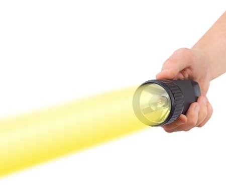 taschenlampe: Taschenlampe in der Hand isoliert auf wei�em Hintergrund