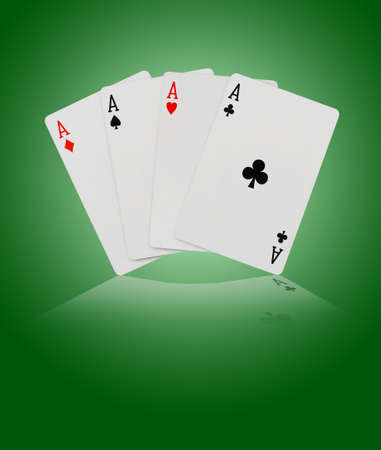 ace of spades: Playing cards - on green background