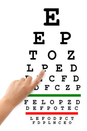Pointing hand and eyesight test chart isolated on white background photo
