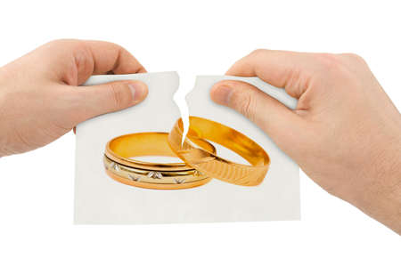 golden ring: Hands tear picture with wedding rings isolated on white background Stock Photo